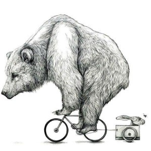 The Giant Bear On Small Bicycle Funny Stencil Tattoo