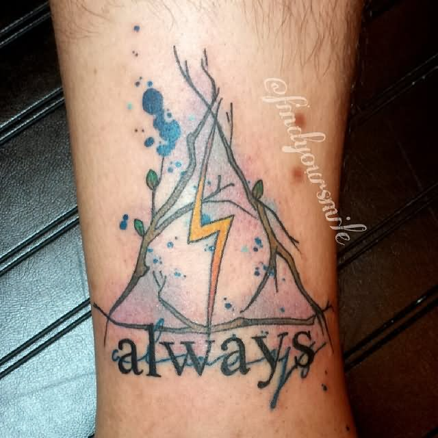 Thunder Sign Deathly Hallows Tattoo With Text