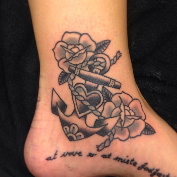 Traditional Anchor With Rose And Navy Text Tattoo On Ankle To Foot