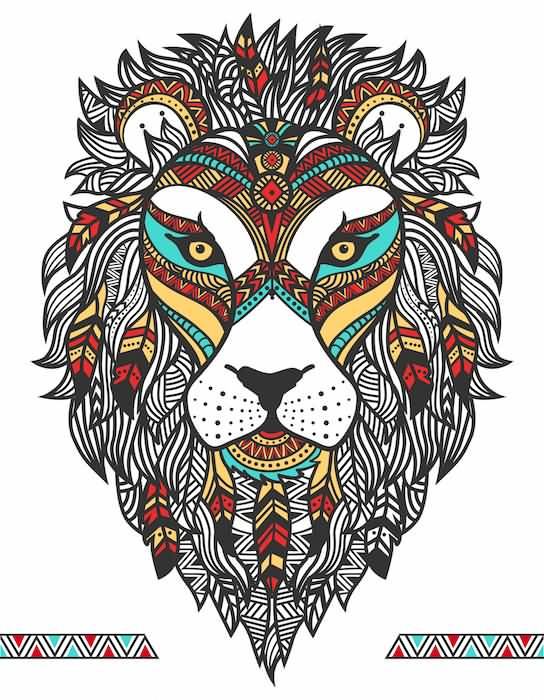Traditional And Nice Mosaic Lion Face Tattoo Design Idea
