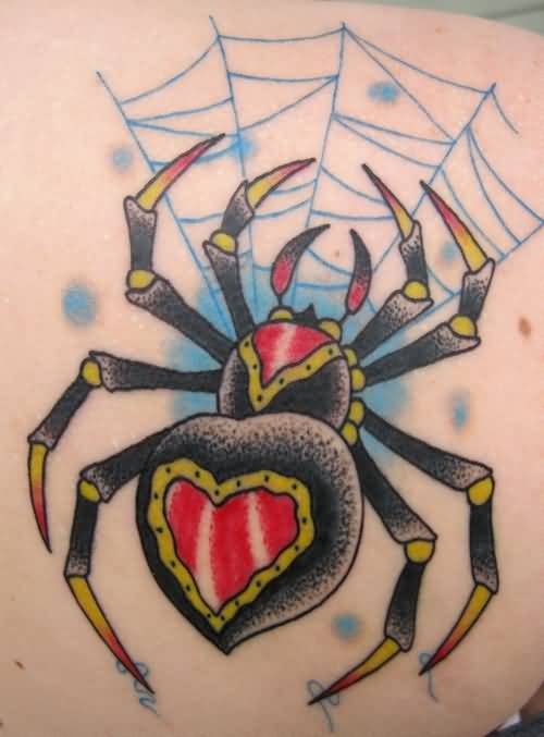 Traditional Heart Black Widow With Blue Web Tattoo Stencil