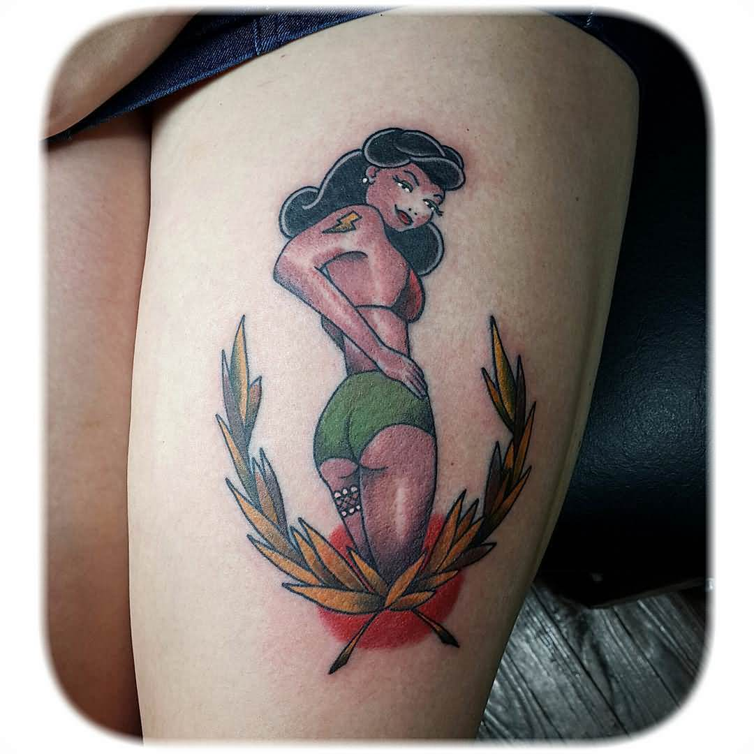 Traditional Hot Pin Up Girl Tattoo On Thigh