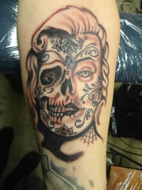 Traditional Marilyn Monroe Face Tattoo Of Skull