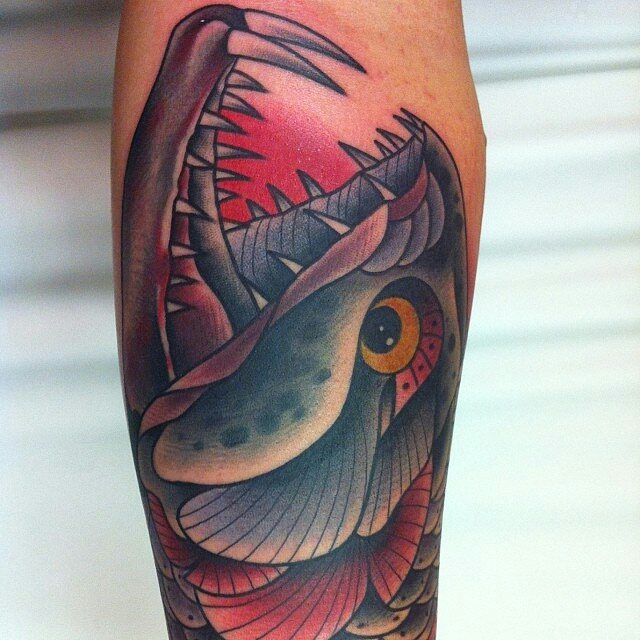 Traditional Sea Creature Dangerous Teeth Fish Tattoo