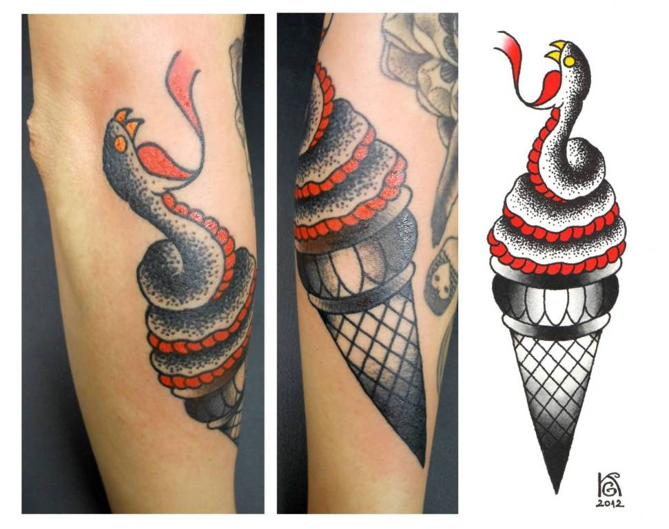 Traditional Snake Ice Cream Tattoo
