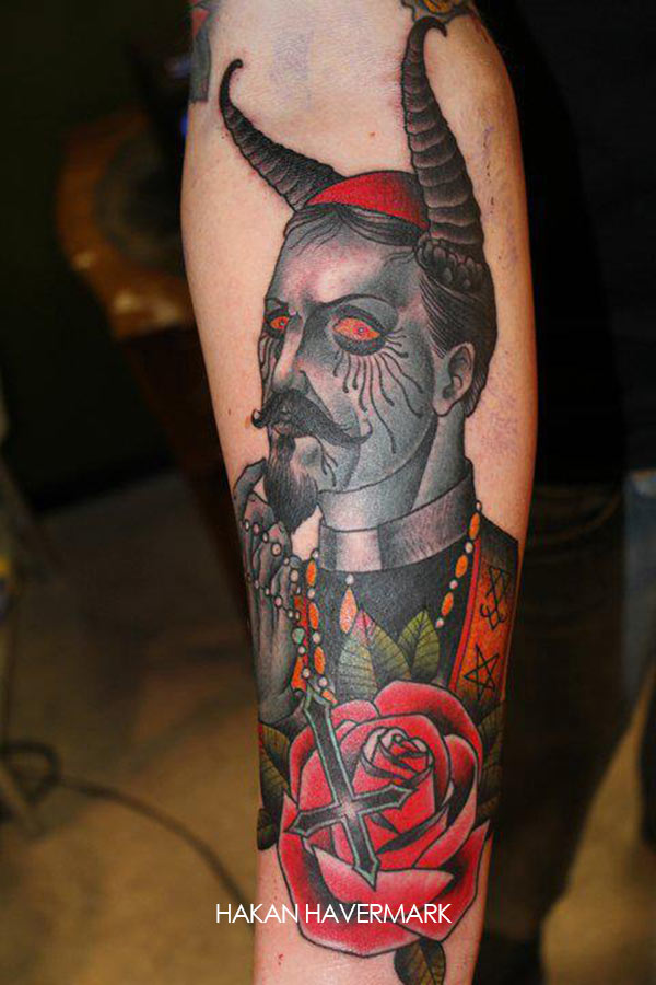 Traditional Vintage Satan Men Face With Cross Red Old School Roses Tattoo