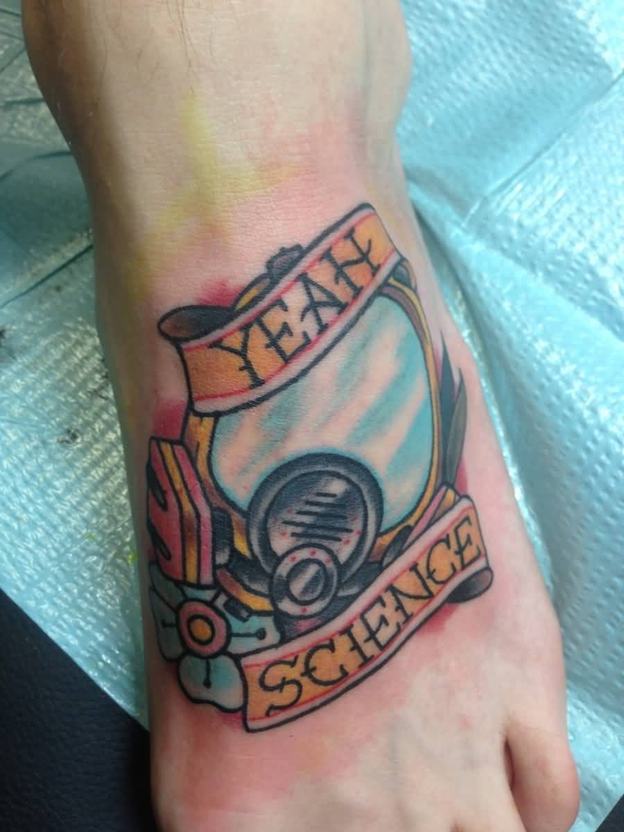 Traditional Yeah Science Banner Tattoo Design For Foot