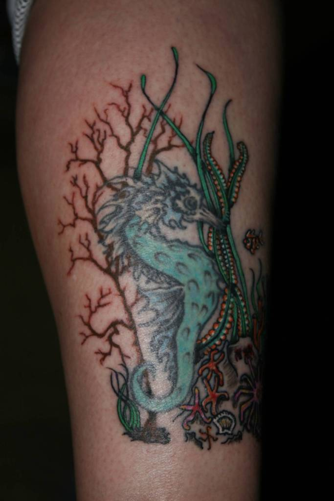 Tree And Simple Sea Creature Seahorse Tattoo