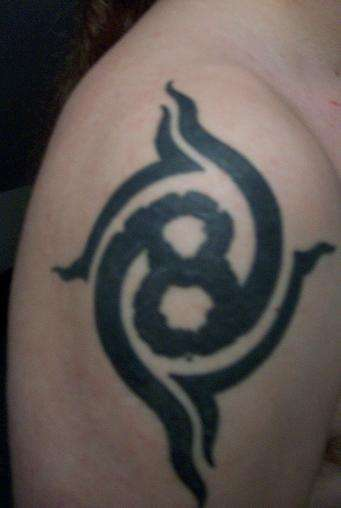 Tribal Grey Ink Eight Roman Number Tattoo On Shoulder