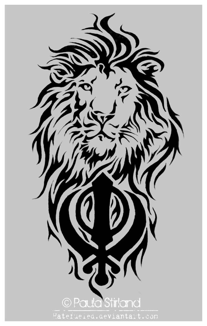 Tribal Lion Head With Black Ink Punjabi Khanda Tattoo Stencil