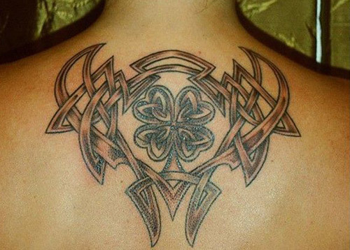 Tribal Shamrock Celtic Knot Tattoo On Men Upper Back