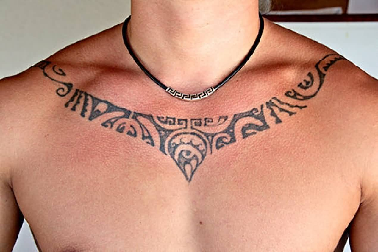 Tribal Simple Necklace Tattoo Design By Grey Ink