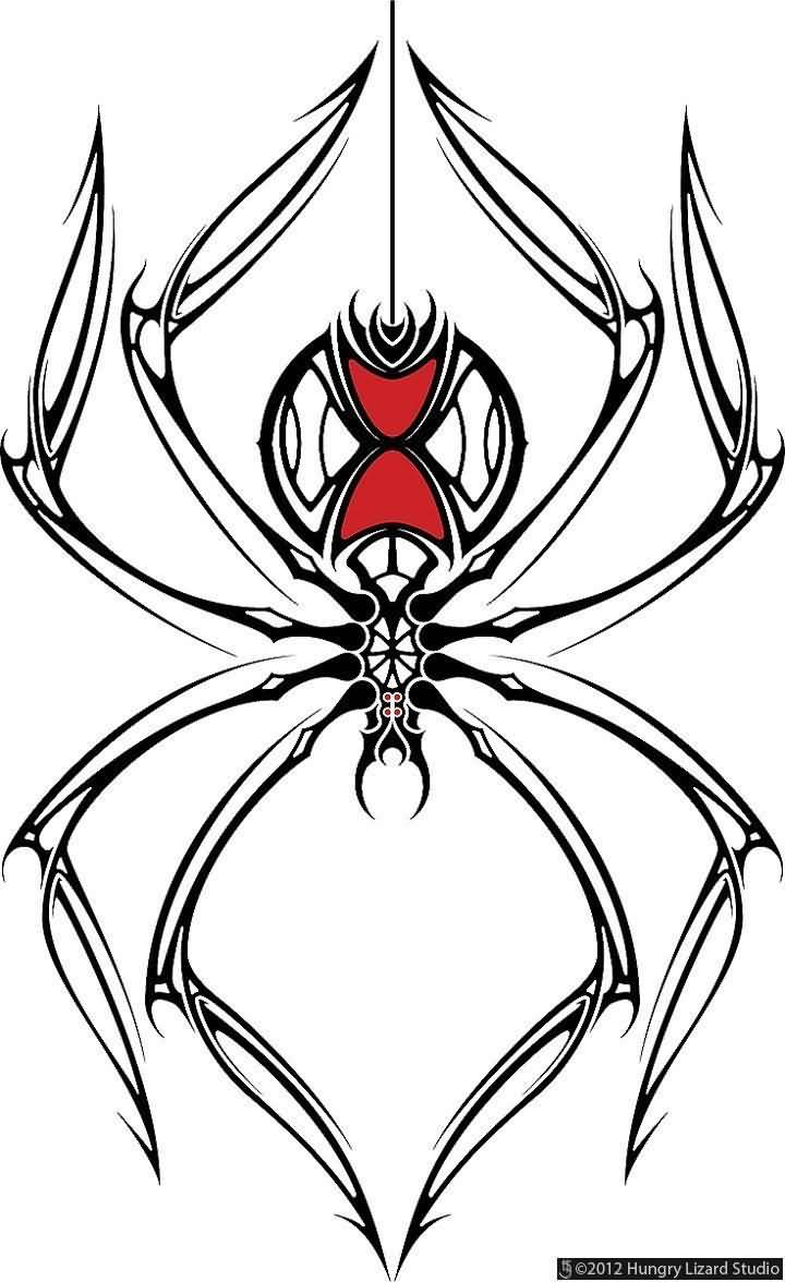Tribal Style Simple Black Widow Spider Tattoo Design