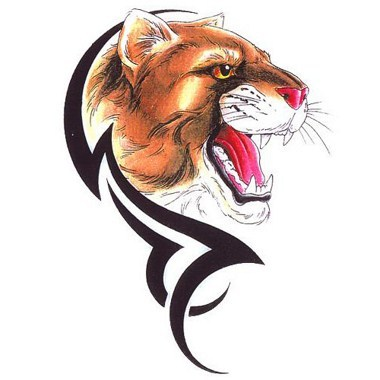Tribal With Roaring Puma Tattoo Idea
