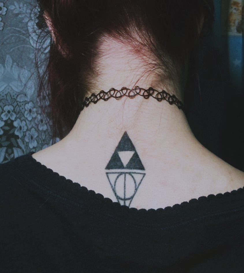 Trifornce Nice Hallows Tattoo On Nape