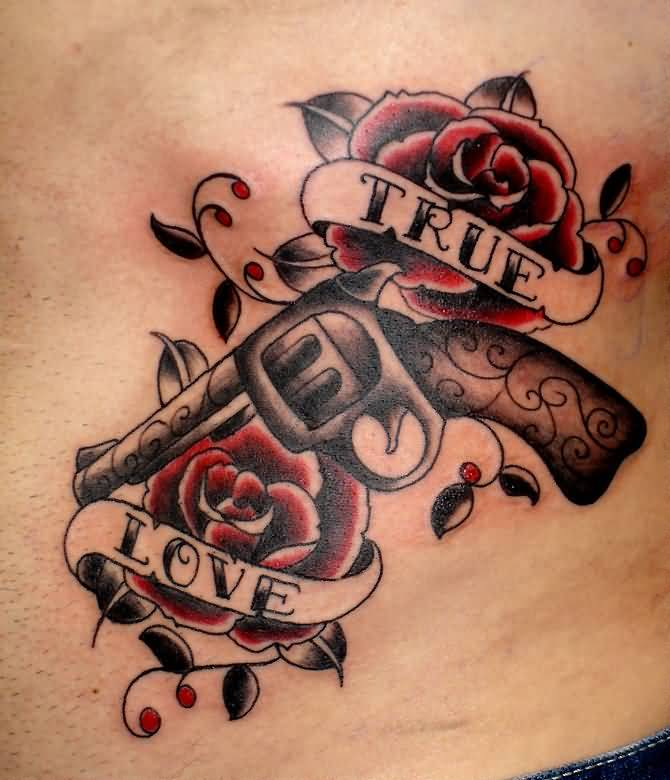 True Love Banner Old School Gun And Beautiful Roses Tattoo