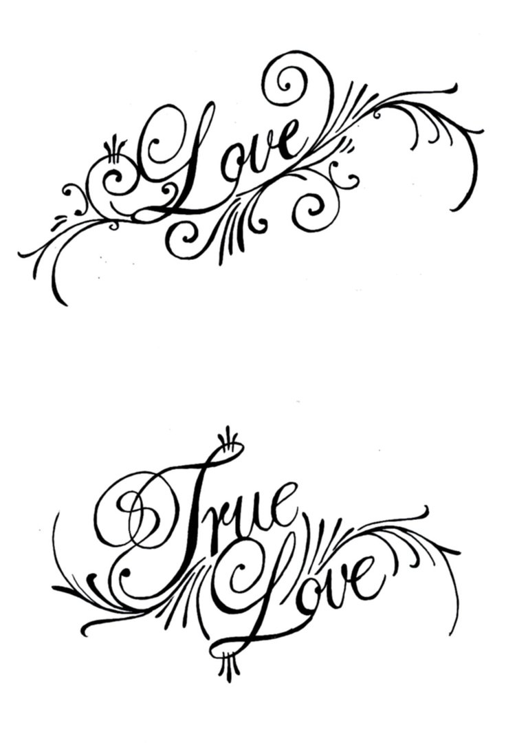 True Love Nice Love Text Tattoo Design Stencil