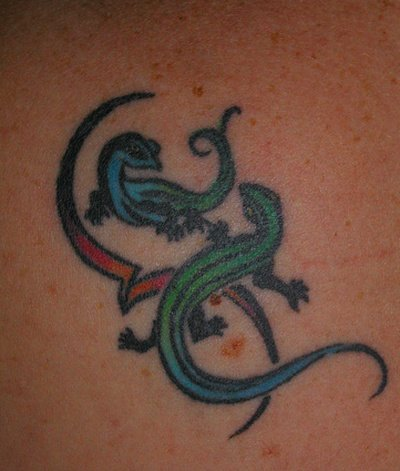Two Colorful Simple Reptile Lizard Tattoo