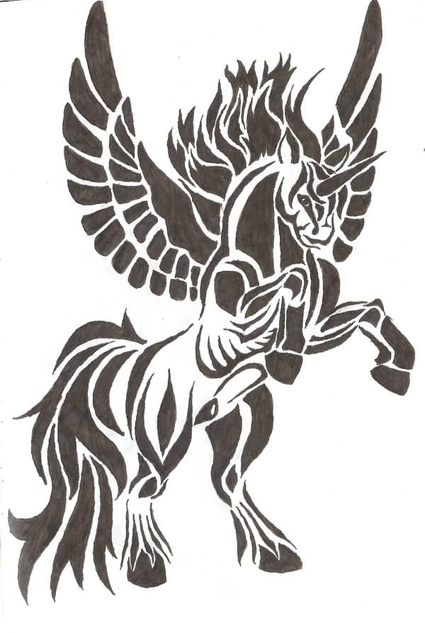 Ulrimate Angry Face Nice Pegasus Tattoo Design Stencil
