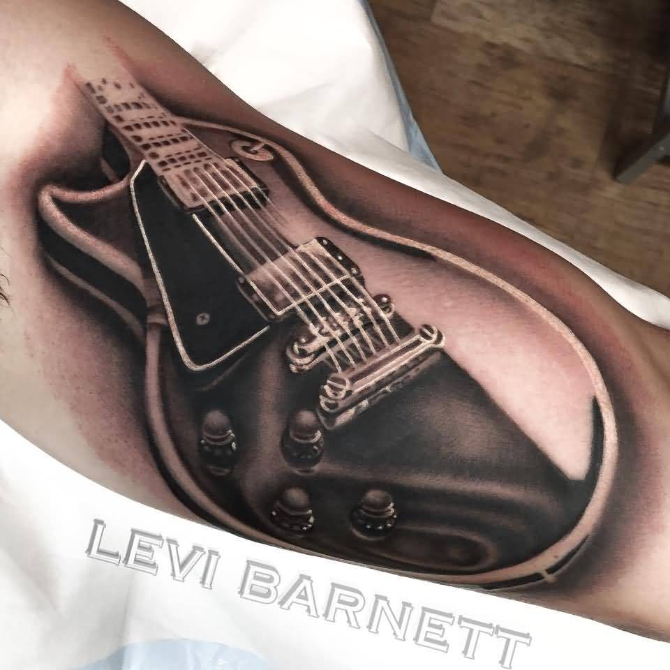 Ultimate 3D Black And Grey Ink Realistic Guitar Tattoo