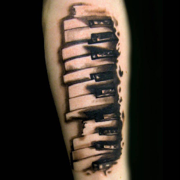 Ultimate And Awesome Piano Keys Tattoo Design Idea For Forearm