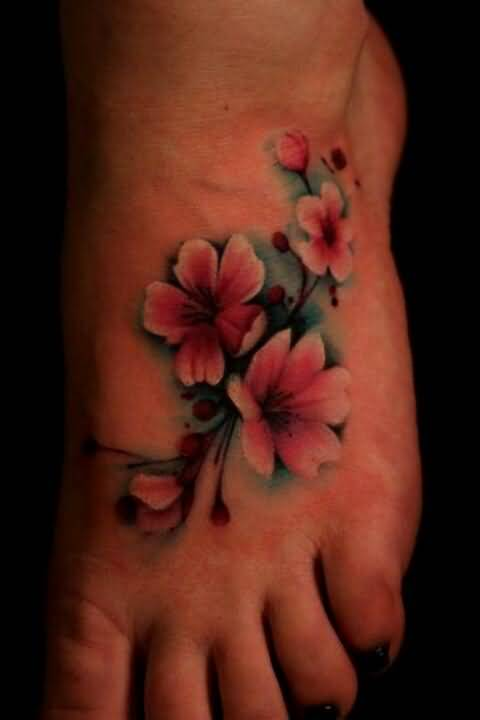 Ultimate And Nice One Gladiolus Flower Tattoo Design On Foot