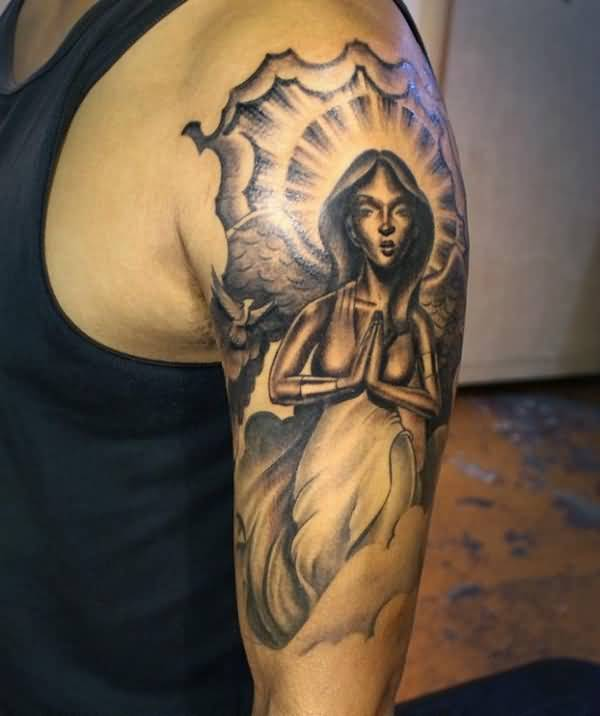 Ultimate And Sad Praying Angel Tattoo On Half Sleeve