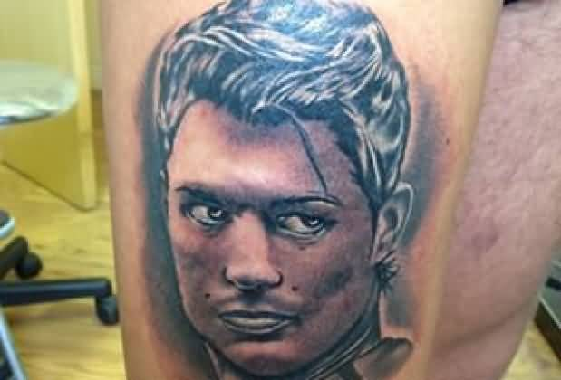 Ultimate Angry Real Madrid Player Ronaldo Face Tattoo On Thigh