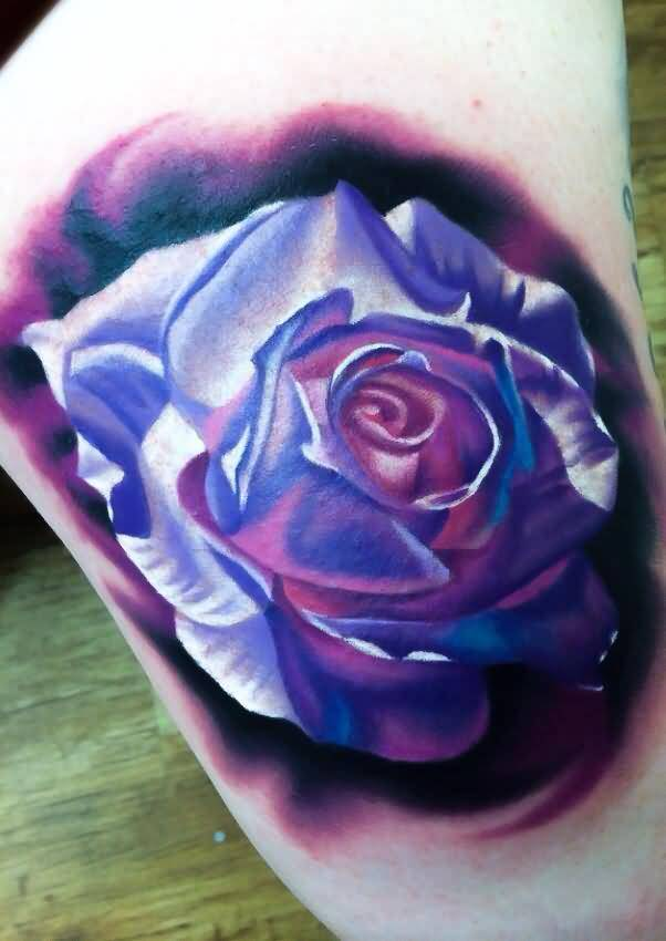 Ultimate Blue Famous Rose Tattoo Design For Arm Made By Levi Barnett