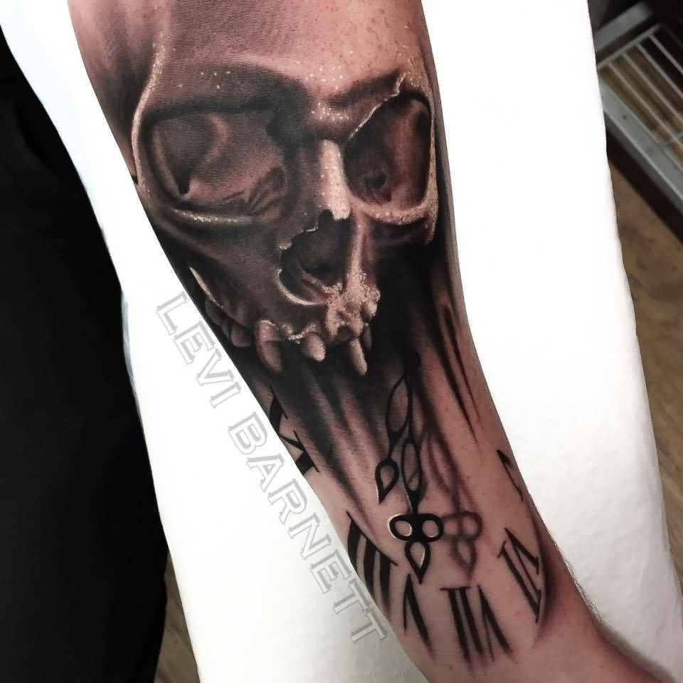 Ultimate Clock With Skull Tattoo For Arm Made By Levi Barnett