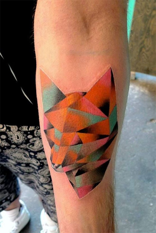 Ultimate Colorful Ink Awesome Mosaic Fox Tattoo