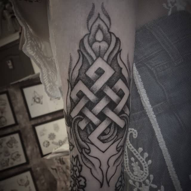 Ultimate Dotwork Endless Knot Tattoo Design With Flower