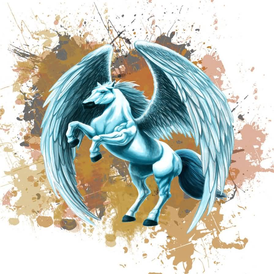 Ultimate Light Blue Color Awesome Look Pegasus Desighn With Water Spalsh Tattoo