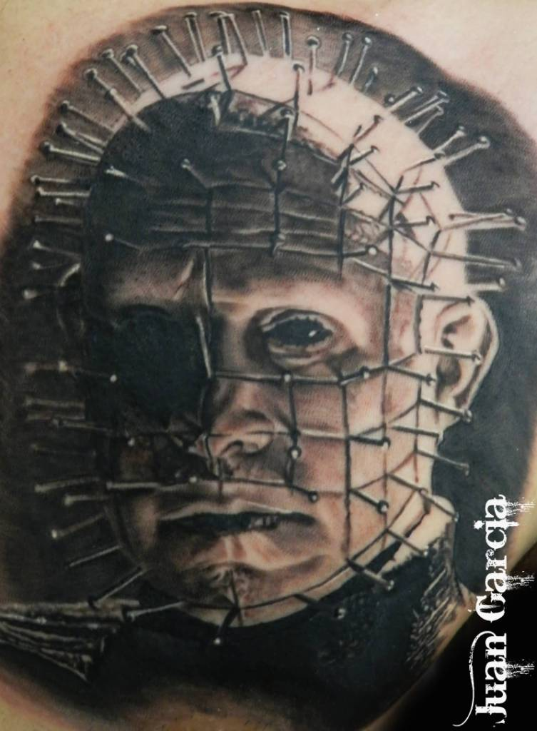 Ultimate Men Chest Amazing Pinhead Tattoo Design Idea