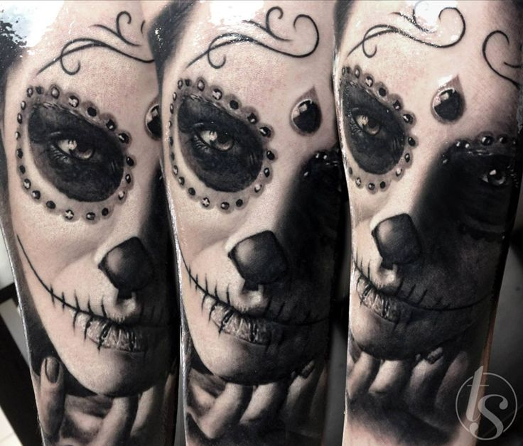 Ultimate Nice Catrina Face Tattoo Design Idea