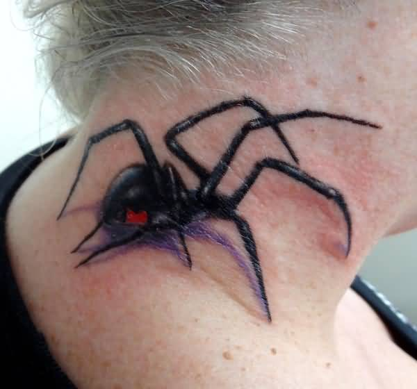 Ultimate Nice Classy Black Widow Spider Tattoo For Girl Nope