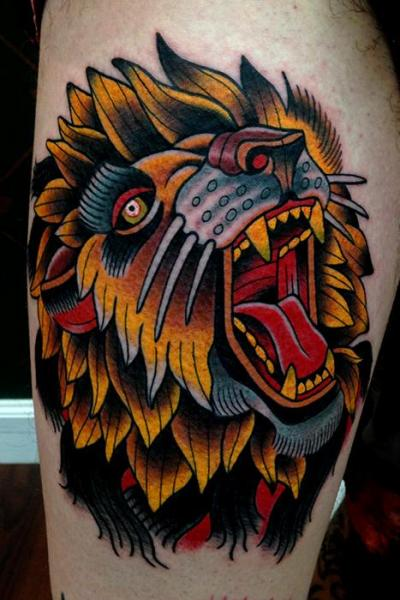 Ultimate Open Mouth Roaring Old School Lion Tattoo