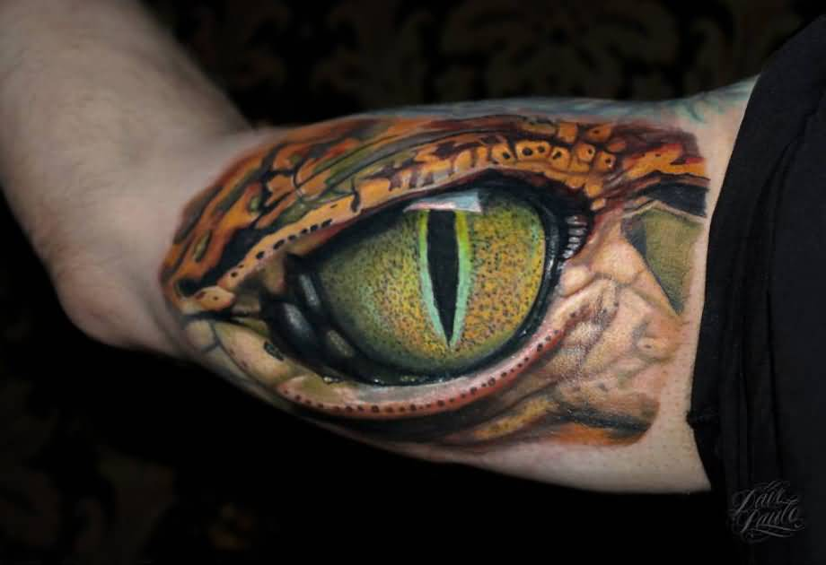 Ultimate Reptile Snake Eye Tattoo Design Idea Make On Bicep
