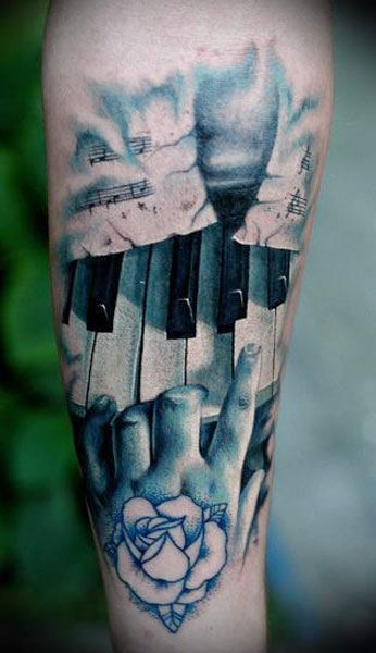 Ultimate Rose With Realistic Hand Piano Keys Tattoo