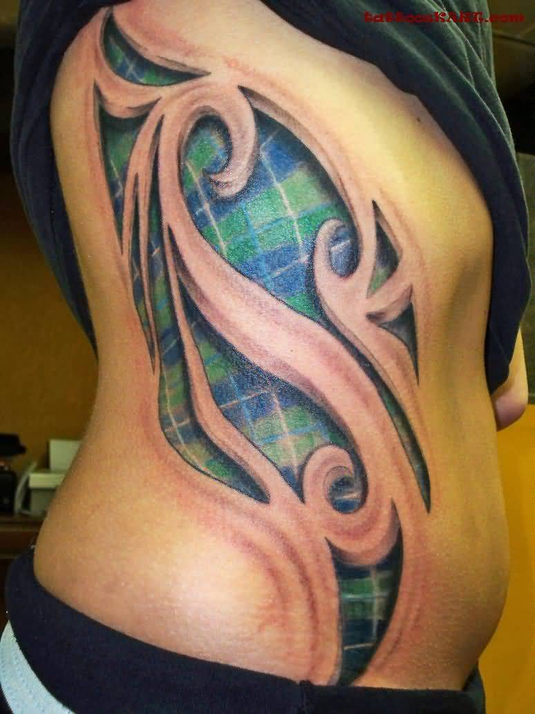 Ultimate Side Rib Awesome Scottish Tartan Tattoo
