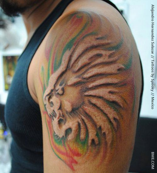 Ultimate Upper Sleeve Amazing Scarification Lion Face Tattoo