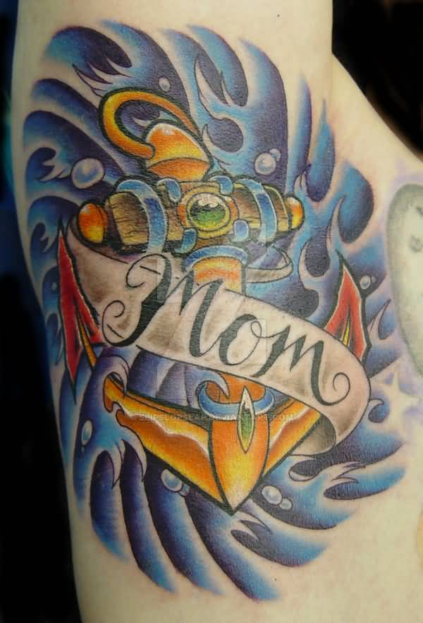 Under Arm Mom Banner Water Wave Anchor Tattoo