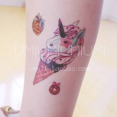 Unicorn Face Ice Cream Cone Tattoo