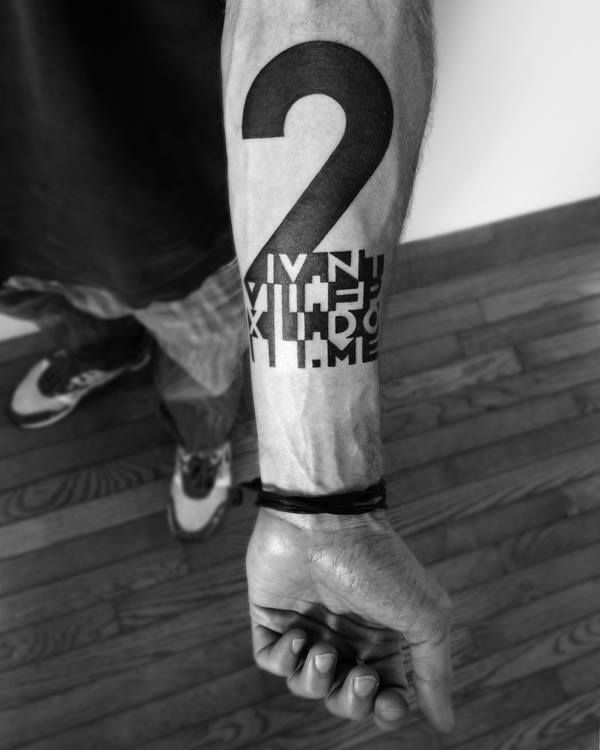 Unique 2 Spirit Number Tattoo On Forearm