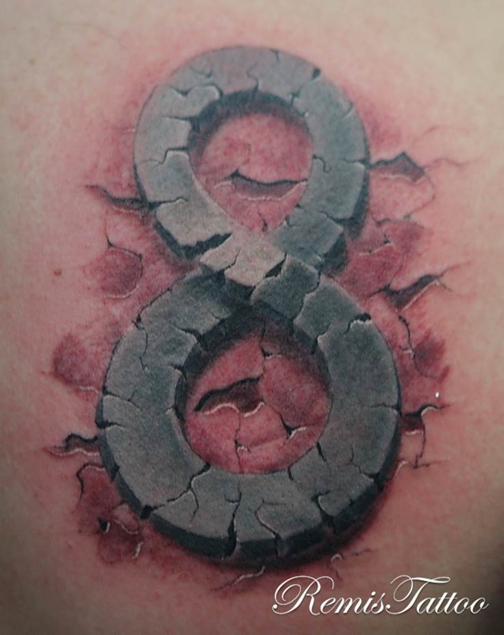 Unique Black And Grey Eight Number Tattoo