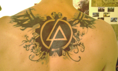 Upper Back Amazing Linkin Park Symbol Tattoo Design