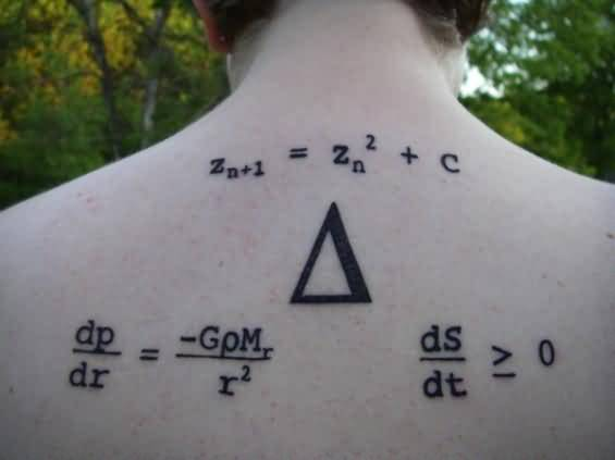 Upper Back Amazing Nice Physics Equation Tattoo