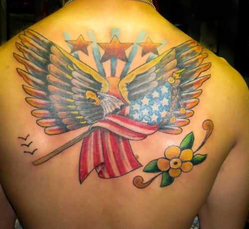 Upper Back Amazing Old School Eagle With USA Flag And Yellow Flower Tattoo
