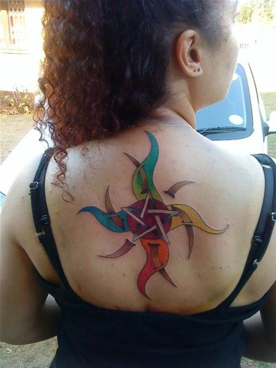 Upper Back Awesome Pagan Star Symbol Tattoo