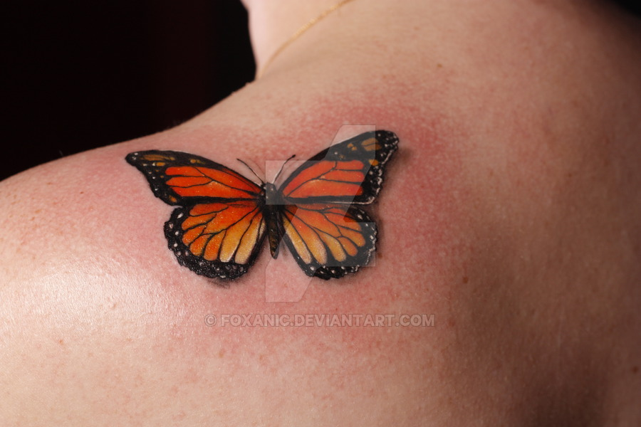 Upper Back Classy Cool Monarch Butterfly Tattoo